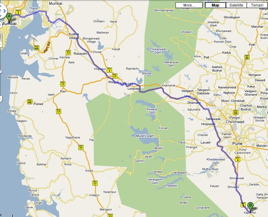 map mumbai to prati balaji temple pune