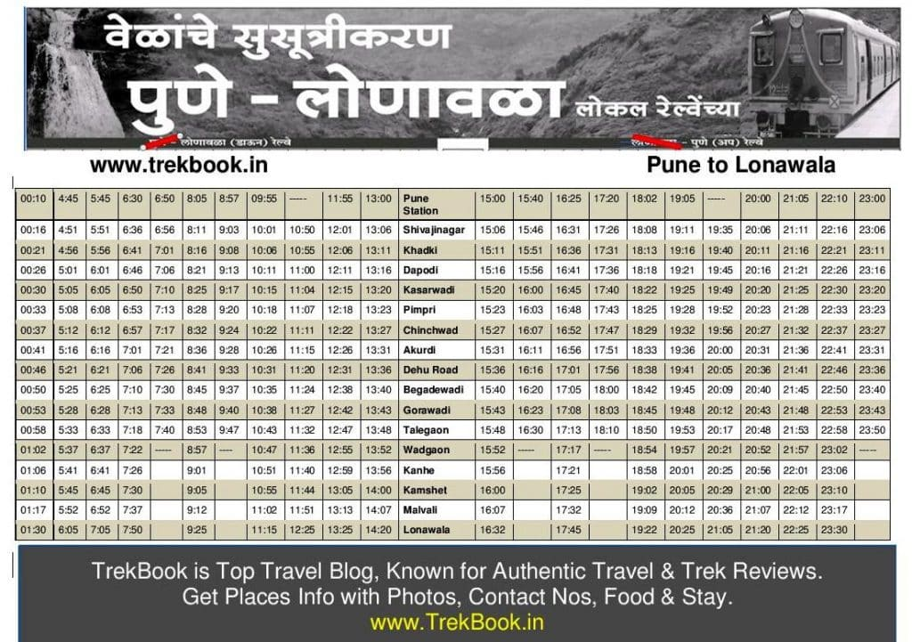pune lonavala local train timetable download