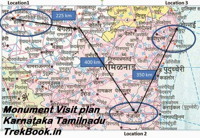 Monument Visit map Karnataka Tamilnadu India