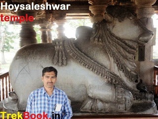 Huge Nandi sculpture  in mandap hoysaleswara