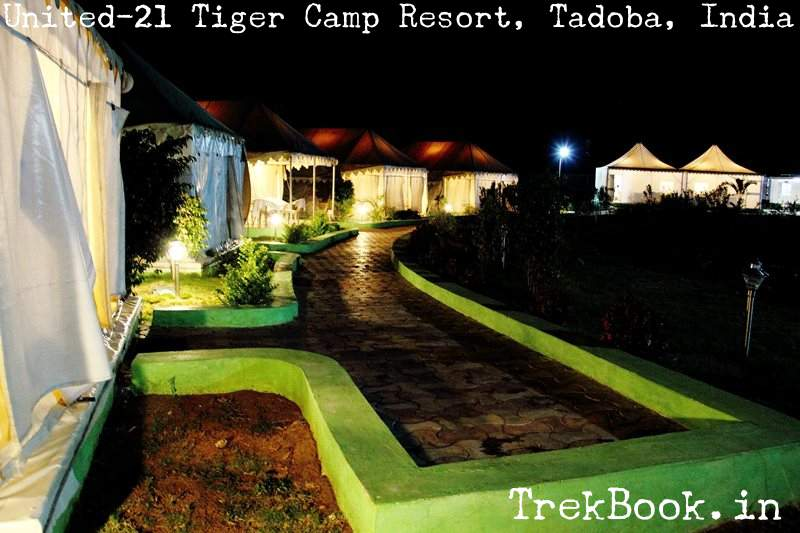 Beautiful night view United-21 Tiger Camp Resort, Tadoba, India