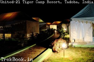 Night view United-21 Tiger Camp Resort, Tadoba, India