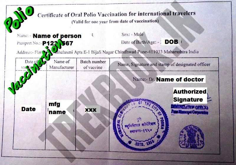 polio vaccination international certificate india