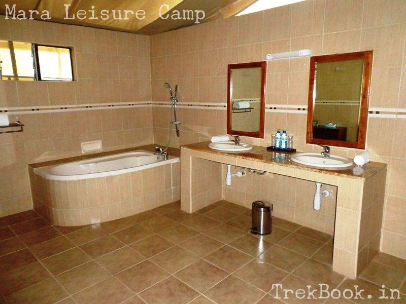 Mara Leisure Camp tent bathroom with tub