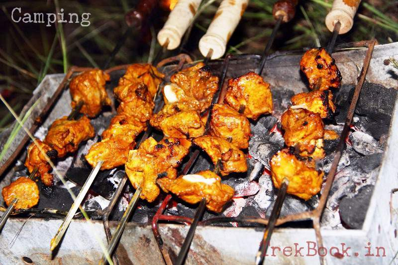 barbecue chicken at camp