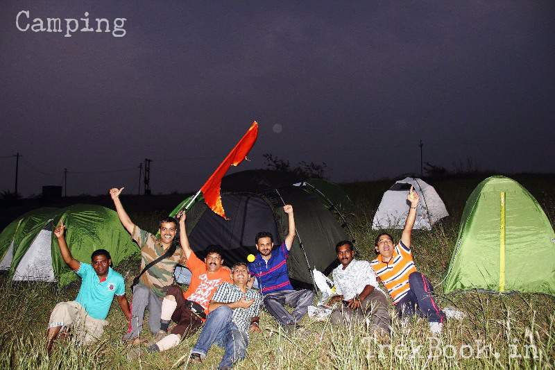 group photo after tents are set for camping
