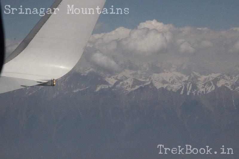 Srinagar mountain views from airplane