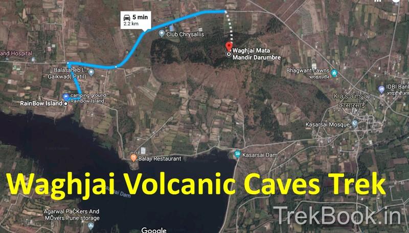 Map of Waghjai Volcanic Caves Trek Kasarsai